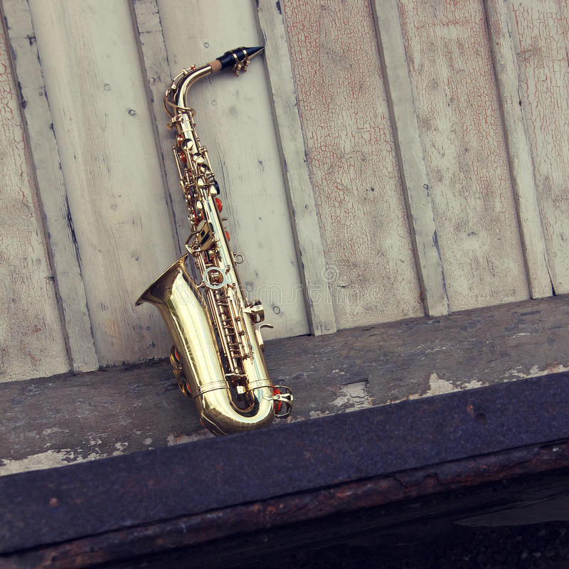 Download Old grungy saxophone stock photo. Image of buttons, music - 21558176