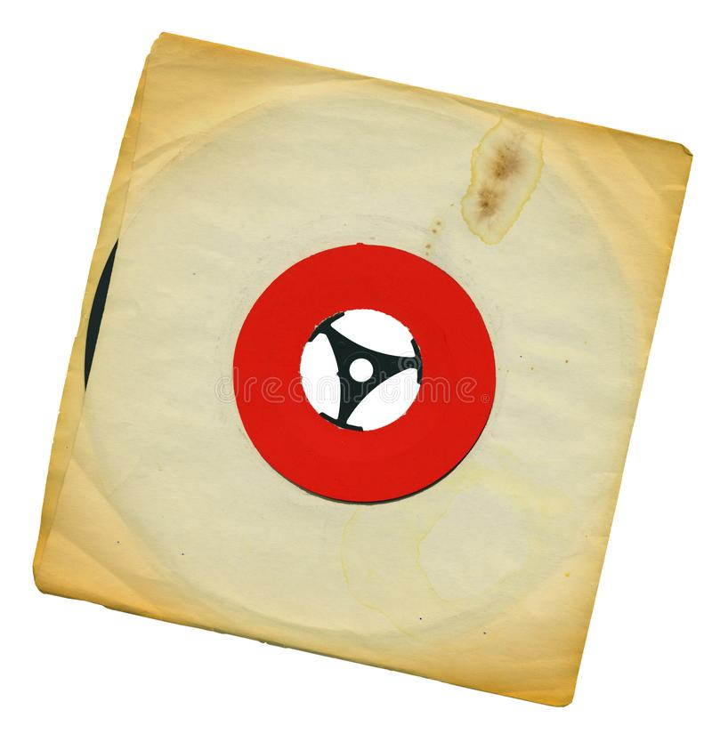 Old grungy single vinyl record with yellowed torn blank sleeve, free copy space, isolated stock image