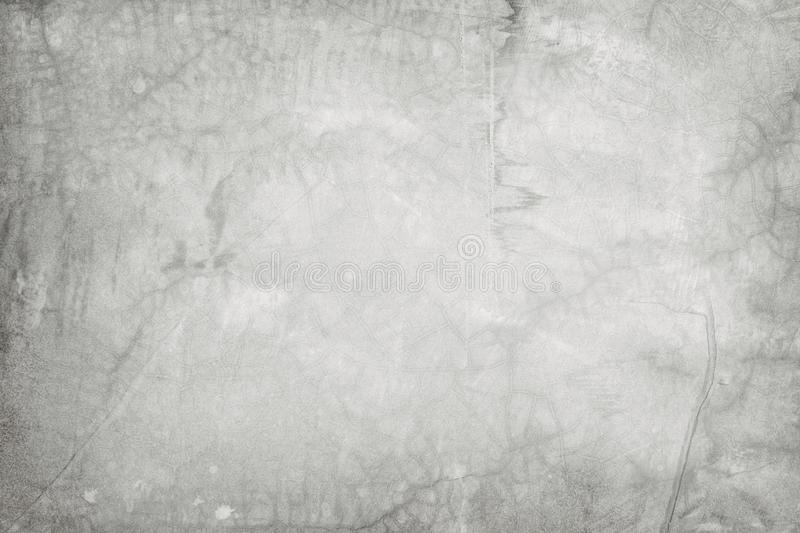 Old grungy texture, white grey color concrete cement wall with detail of rough stucco and crack for background and design art work stock photo