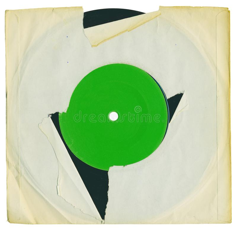Old grungy vinyl record with blank sleeve and label , free co. Old grungy vinyl record with blank yellowed torn sleeve and blank record label, free copy space royalty free stock photo