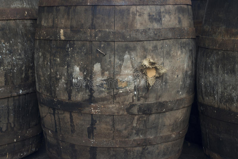 Old Grungy Wine Barrels royalty free stock images