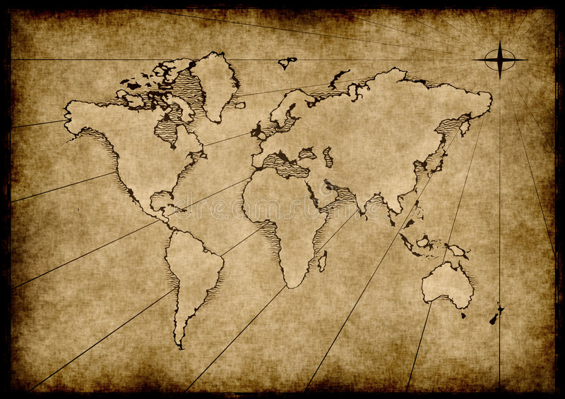 Old grungy world map vector illustration