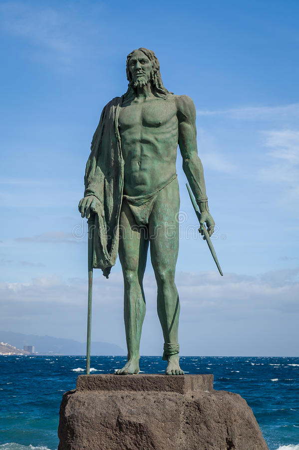 Old Guanche king statue in Candelaria stock images