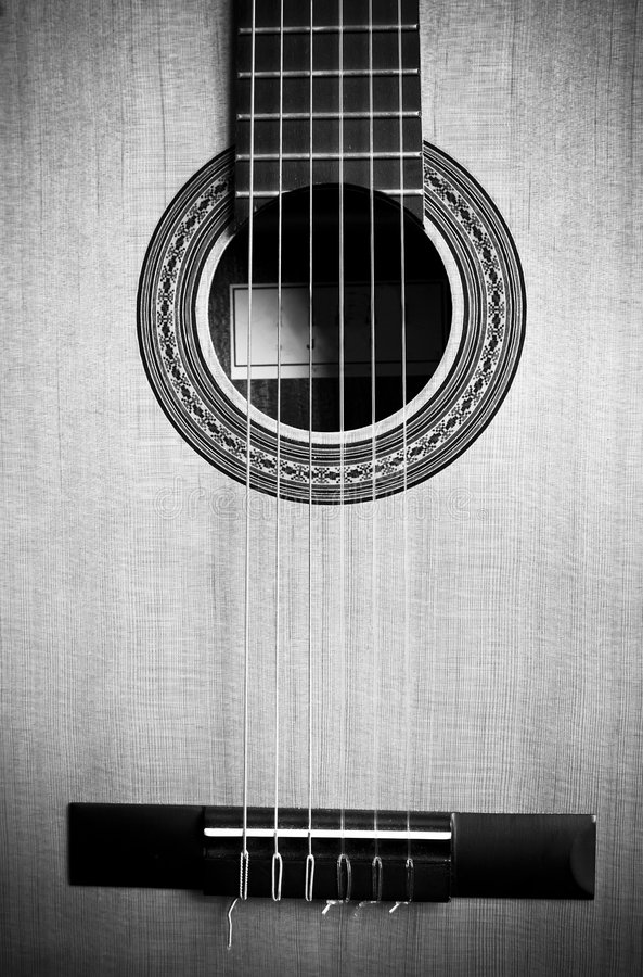 Old guitar in detail. Black and white tone royalty free stock photos