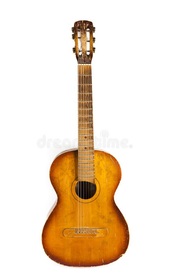 Old guitar isolated on white backgroun stock photo