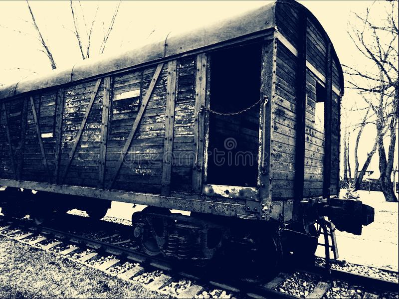 Old Gulag wagon. With barbed wire window royalty free stock photography