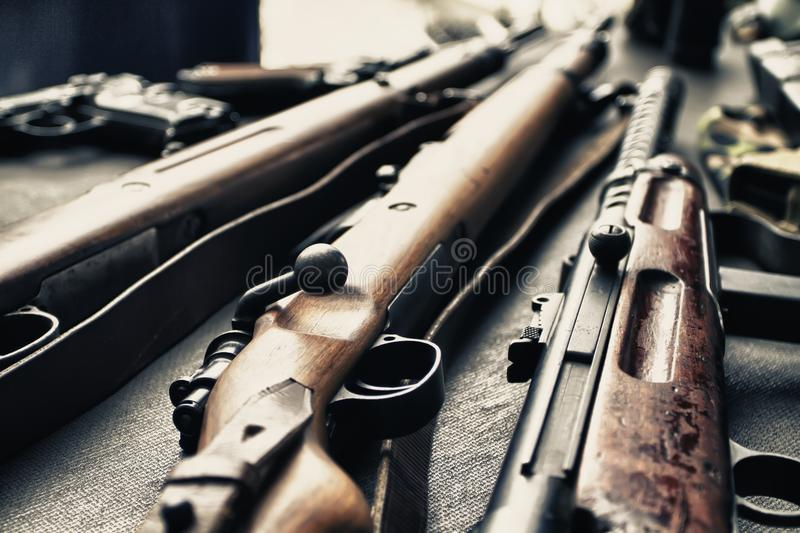 Old guns. Old weapons of war to visit royalty free stock images