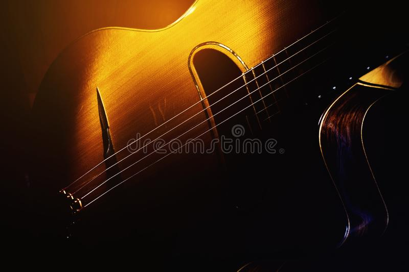Old Gypsy Acoustic Guitar. Details of old retroacoustic guitar, gypsy jazz in style of Django royalty free stock image