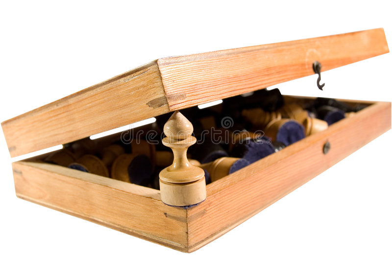 Old Half-open Wooden Chessboard Royalty Free Stock Images