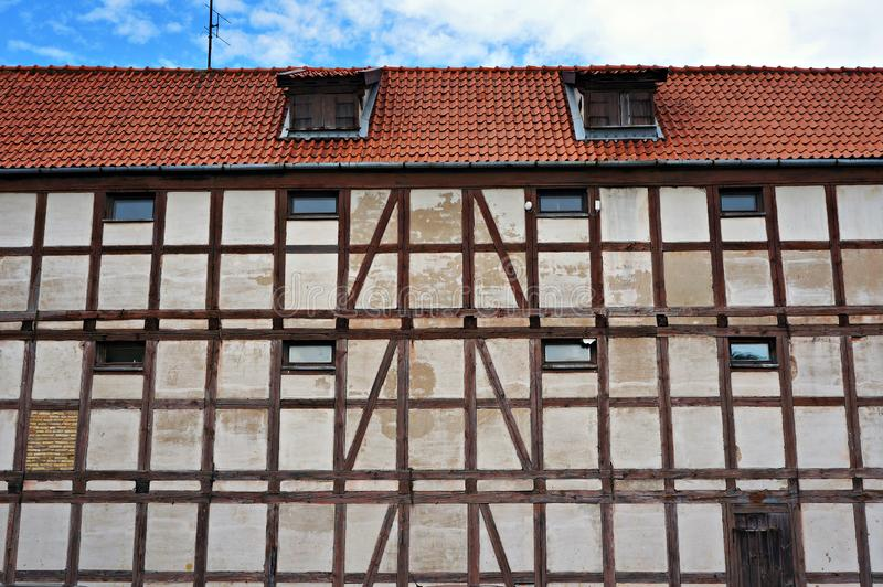 Old half-timbered house in Klaipeda, Lithuania. Facade of old half-timbered house in Klaipeda, Lithuania royalty free stock photo