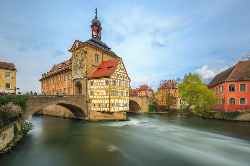 Old Hall-Bamberg-Germany. Bamberg, old town, beautiful hall on the river, long exposure. Franconia, Bavaria, Germany royalty free stock photography