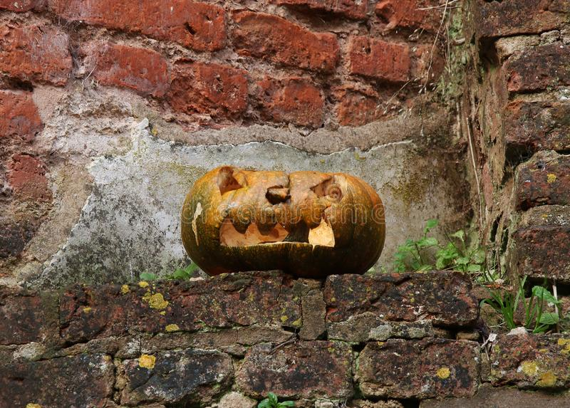 Old Halloween Carved Scary Pumpkin royalty free stock images