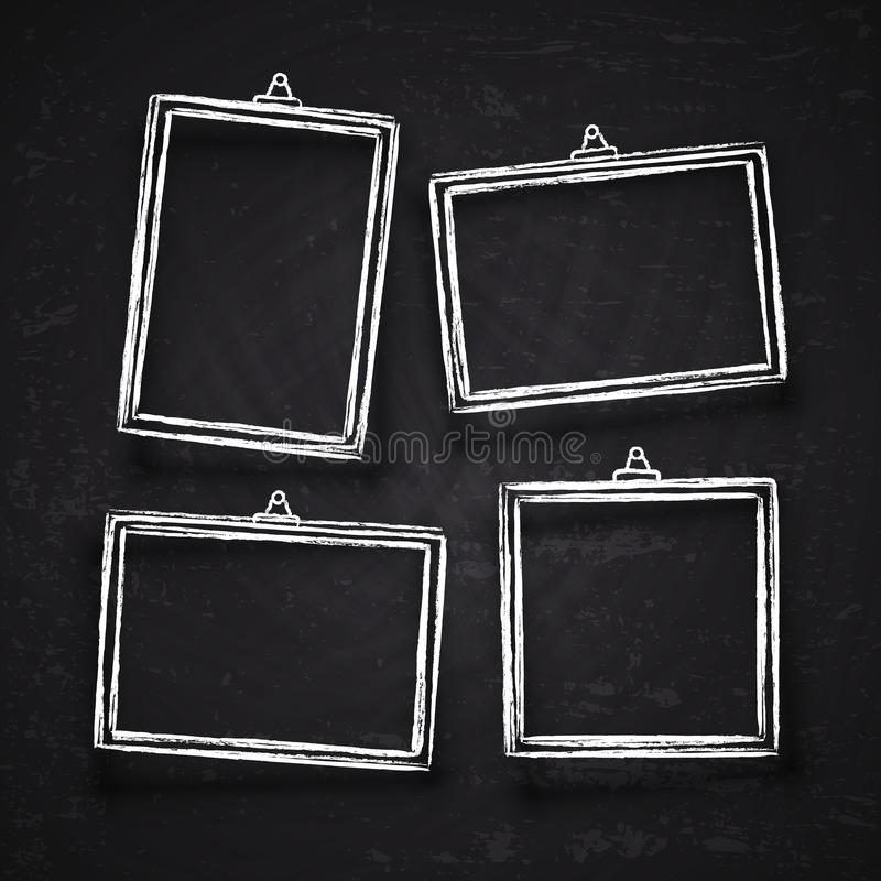 Old hand drawn chalk photo frames, white vintage image borders with shadows isolated on blackboard vector set royalty free illustration