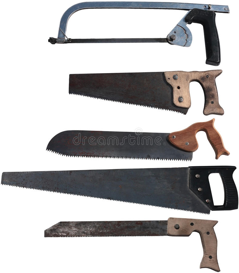 Old hand saws royalty free stock image
