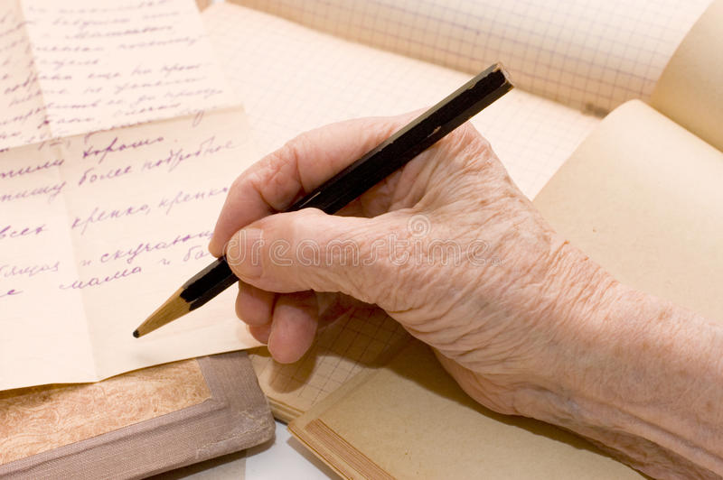 Download Old hand writes the letter stock photo. Image of human - 12865778