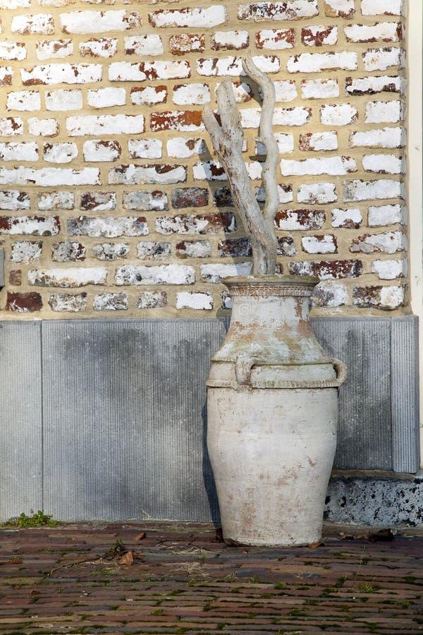 Old handmade ceramic jug stock photos