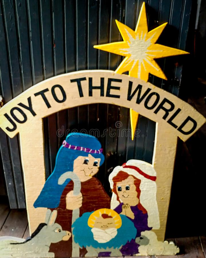 Old Homemade Christmas Decoration - Nativity stock images
