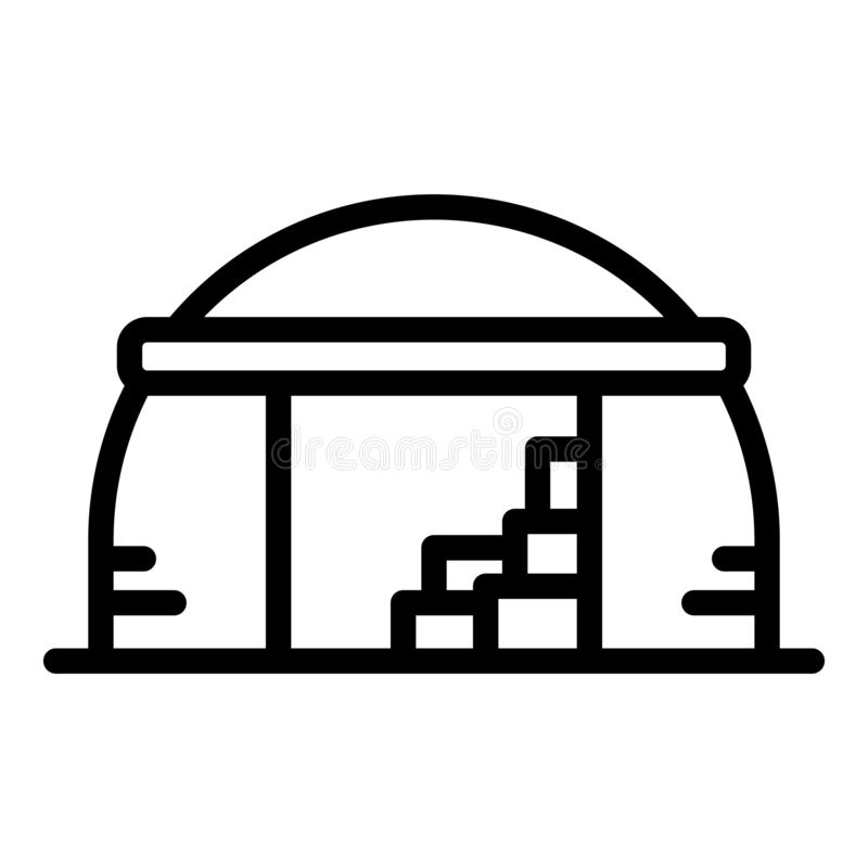Old hangar icon, outline style. Old hangar icon. Outline old hangar vector icon for web design isolated on white background royalty free illustration