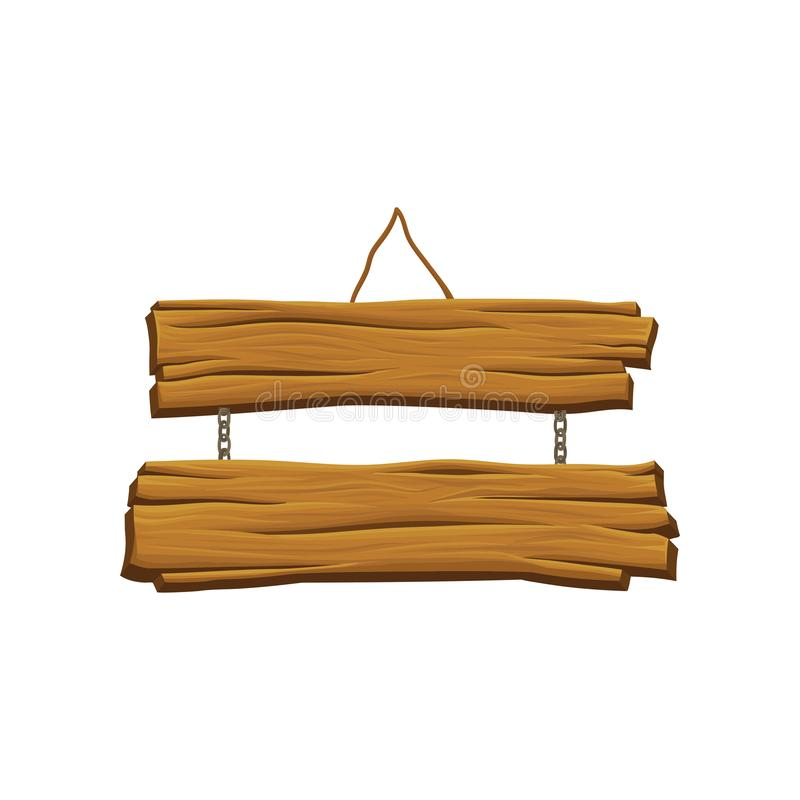 Old hanging wooden signboard. Brown textured boards. Two planks connected by chains. Sign with place for your messages. Organic material. Detailed vector royalty free illustration