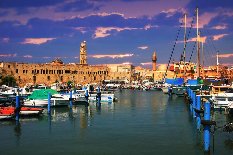 Old harbor. Acre, Israel. stock photography