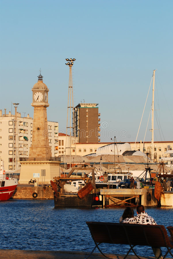 At the old harbor in Barcelona royalty free stock photography