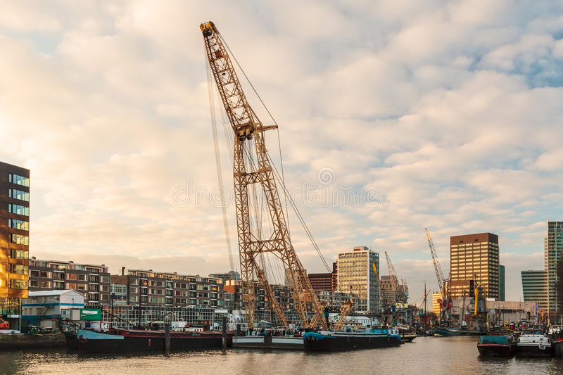 Old Harbor In The Center Of Rotterdam Stock Images