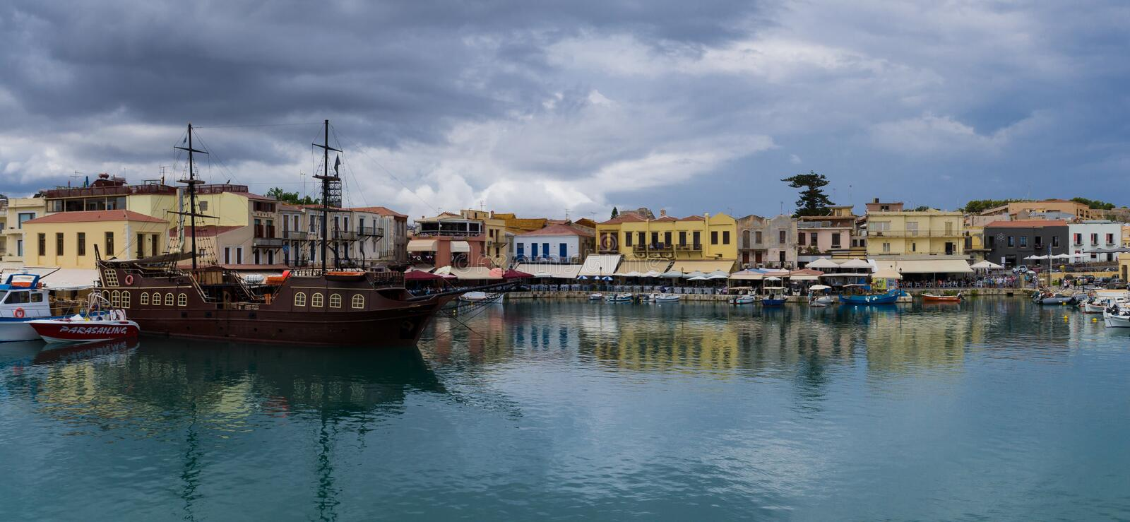 The old harbor in the city of Rethymnon royalty free stock photo