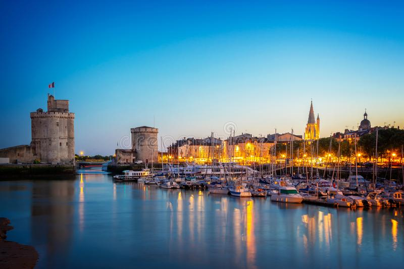 Old harbor of La Rochelle France at night. Old harbor of La Rochelle, France at night stock photos