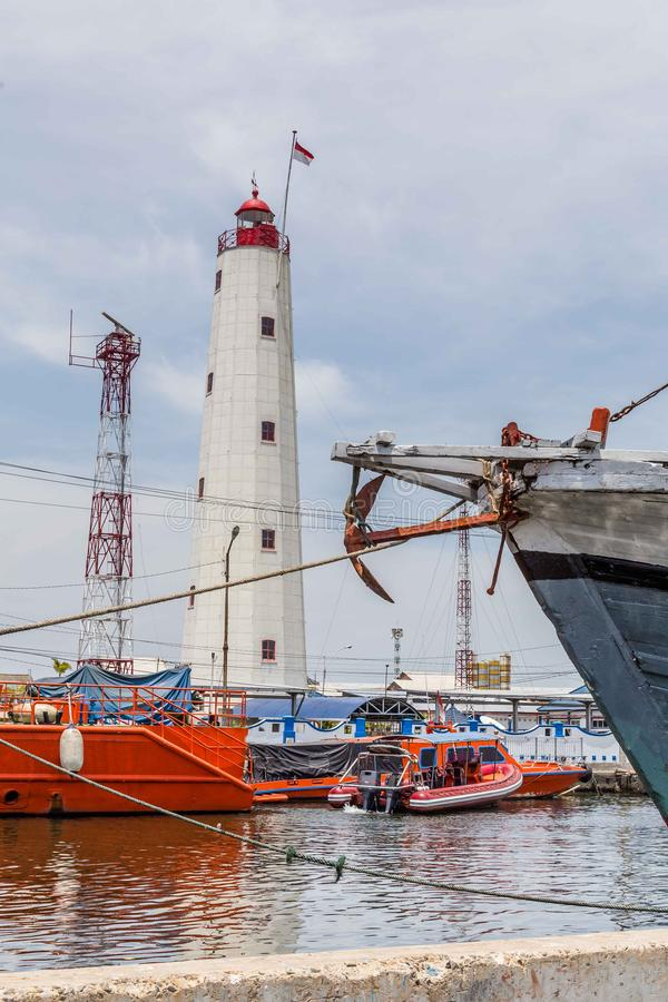 Maritime in Semarang Indonesia. Old harbor with lighthouse in Semarang Indonesia royalty free stock photo
