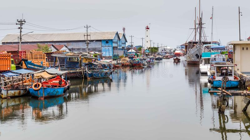 Maritime in Semarang Indonesia. Old harbor with lighthouse in Semarang Indonesia royalty free stock photos