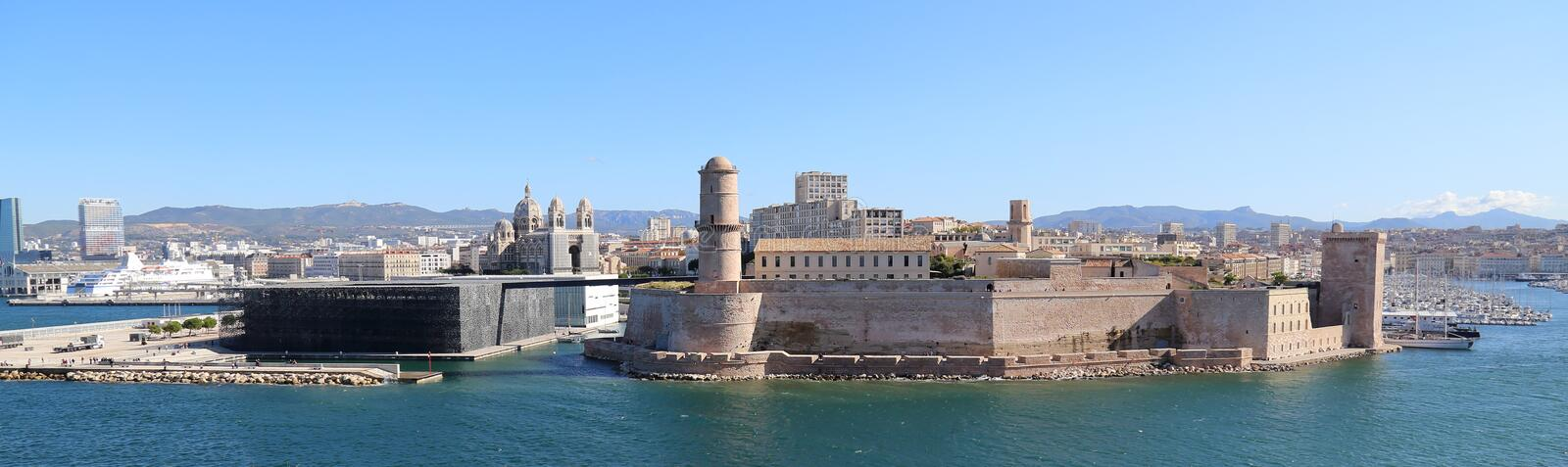 Old harbor of Marseille, France stock images