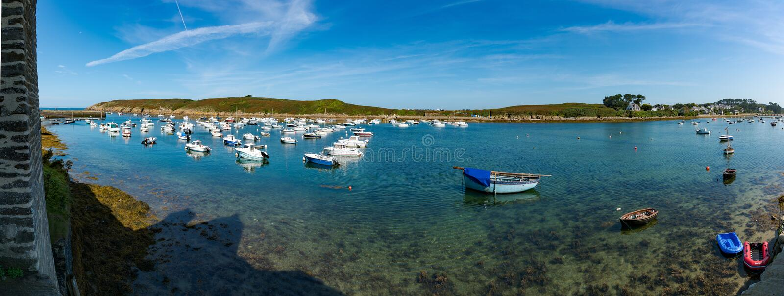 The old harbor and port of La Conquet on the Brittany coast in France royalty free stock photo