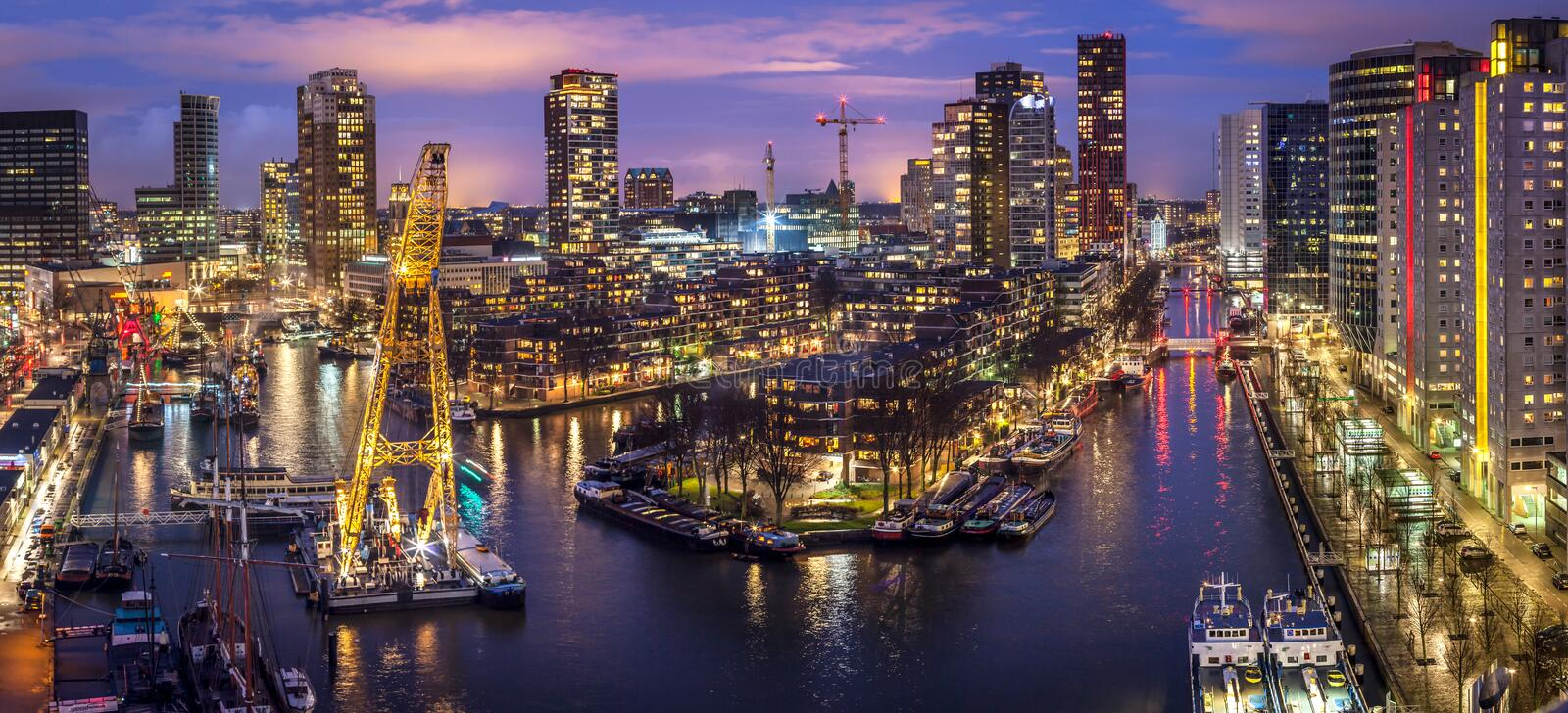 Old Harbor Rotterdam City stock images