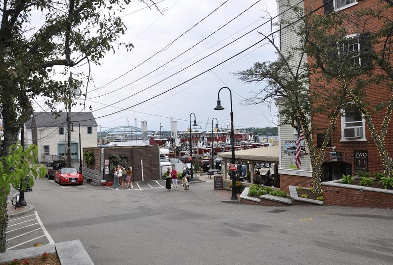 Portsmouth, 30th June: Old Harbor Street from Portsmouth in New Hampshire of USA royalty free stock image