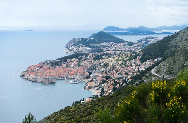 Old Harbour of Dubrovnik and city from above and Croatia islands stock photos