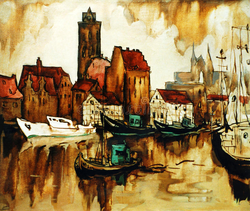 Old harbour in the german city wismar, painting stock image