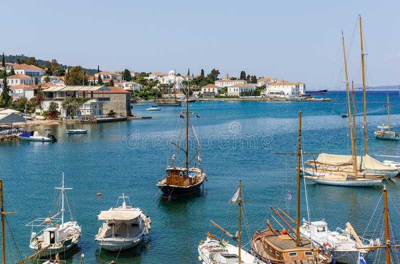 The Old Harbour in Spetses royalty free stock image