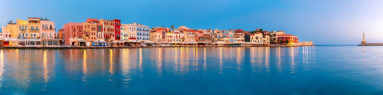 Old harbour at sunrise, Chania, Crete, Greece royalty free stock photos