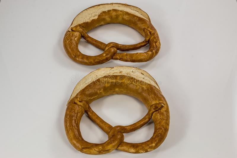 Old German pretzels on white background royalty free stock photos