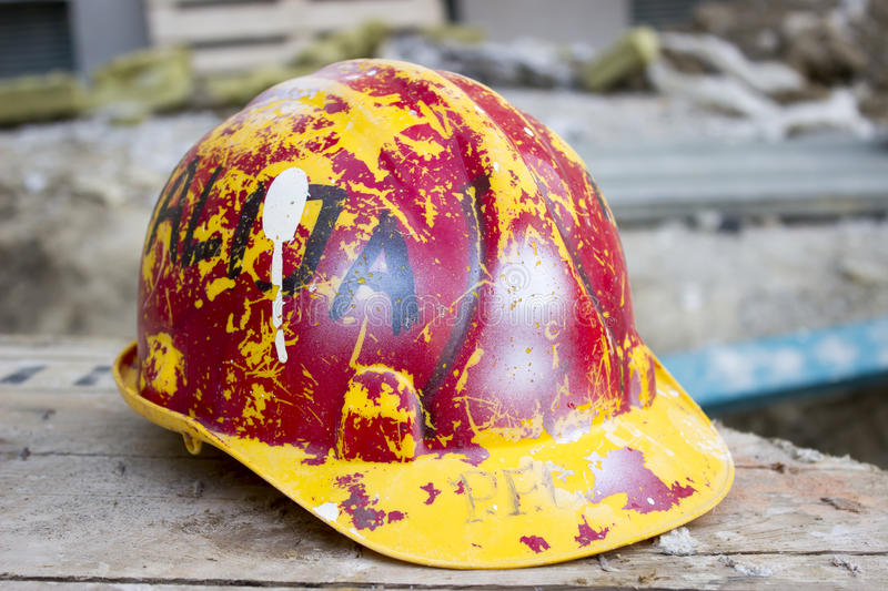 Old hard hat stock photo