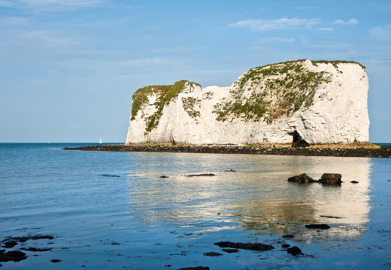 Old Harry Rocks Jurassic Coast UNESCO. Old Harry Rocks on Jurassic Coast in Dorest England, UNESCO World Heritage location looking up from low tide base of royalty free stock photos