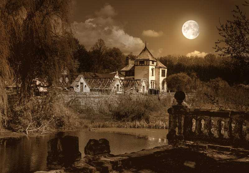 Old haunted house and park royalty free stock images