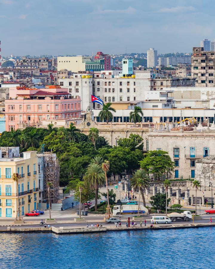 OLD HAVANA, CUBA - OCTOBER 27- Downtown waterfront area of historic Old Havana in Cuba on Oct 27, 2015 stock image