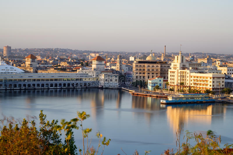 Old Havana at dawn with a view of the bay and several landmarks royalty free stock images