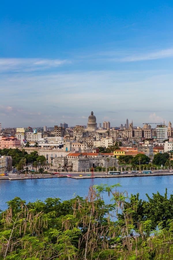 Old Havana shoreline in Cuba royalty free stock photo
