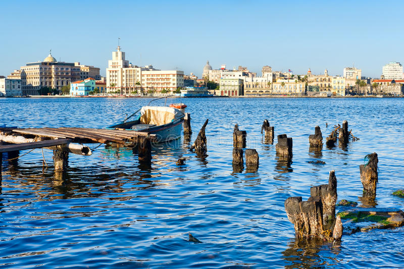 The Old Havana skyline and an old pier with fishing boats on the Bay of Havana. The City of Havana in Cuba with a view of the Old Havana skyline and an old royalty free stock images