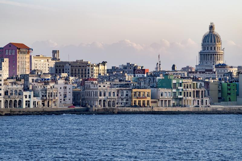 Malecon Havana with colonial buildings and Capitolio, Cuba, seen from seaside royalty free stock photos