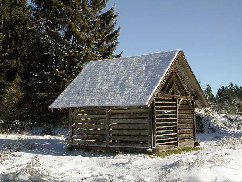 Old hay shack stock photo