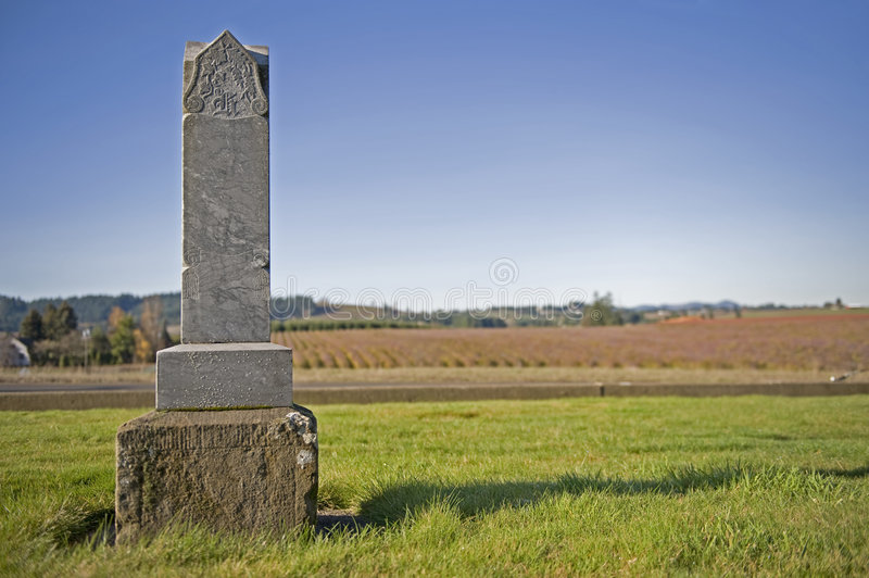 Old headstone 1800's. Final resting place with a scenic view stock photo