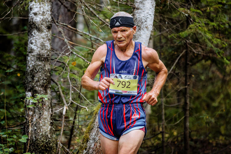 Old healthy male athlete running in woods. Zlatoust, Russia - August 28, 2016: old healthy male athlete running in woods during Mountain marathon stock photo